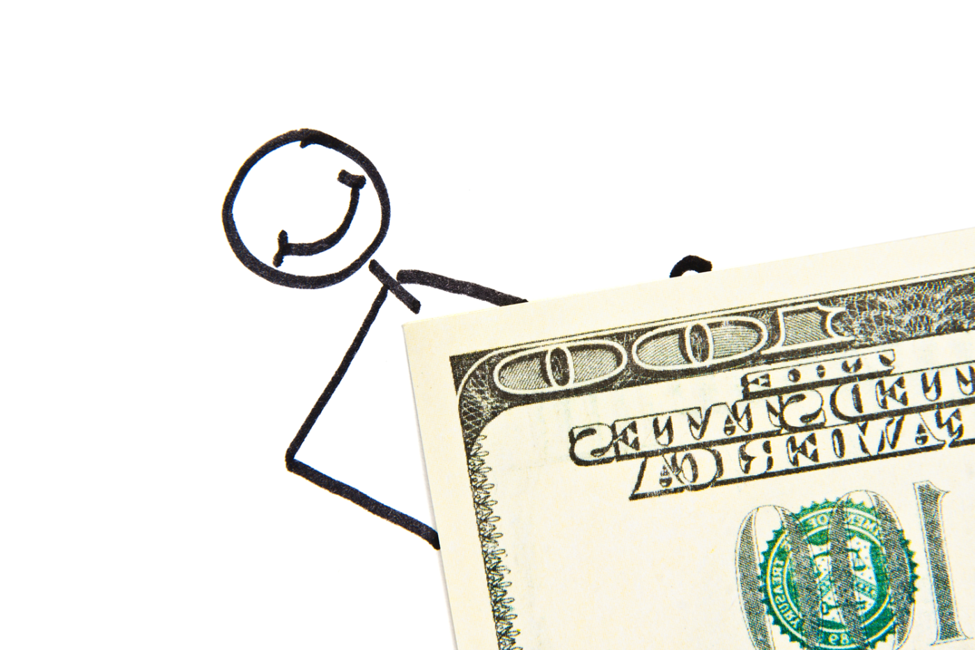 Drawn stickman with money